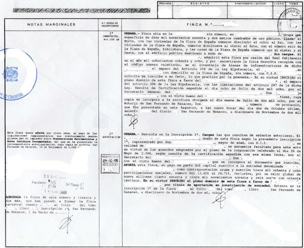 Topografía y folio registral